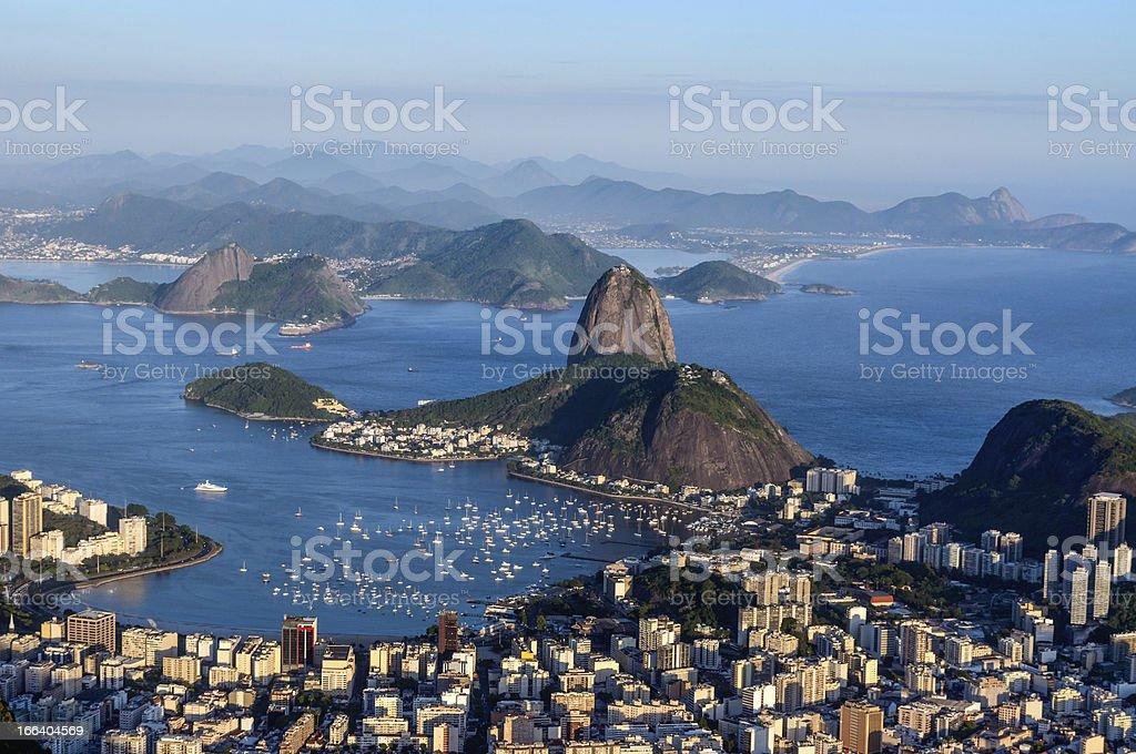 Sugarloaf, Botafogo Beach and Guanabara bay at sunset royalty-free stock photo