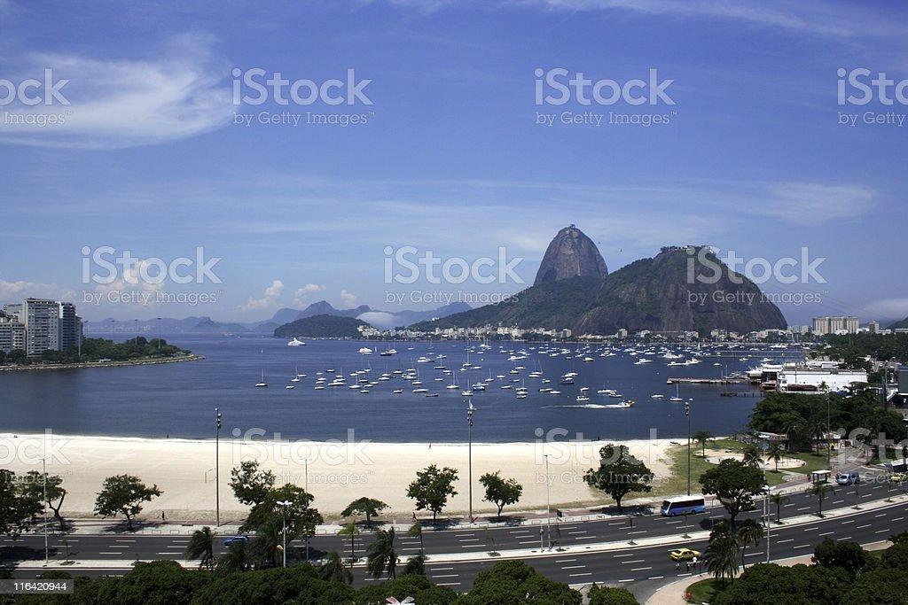 Sugarloaf Mountain and Botafogo beach royalty-free stock photo