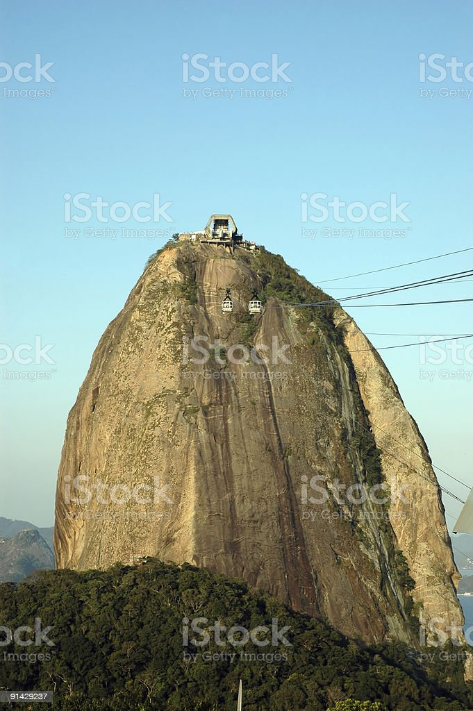 Sugarloaf Mountain and cable car royalty-free stock photo