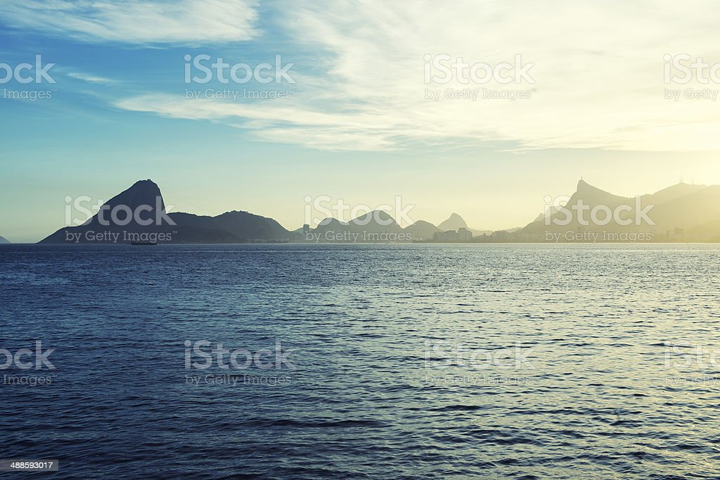 Sugarloaf Mountain Guanabara Bay Rio from Niteroi stock photo