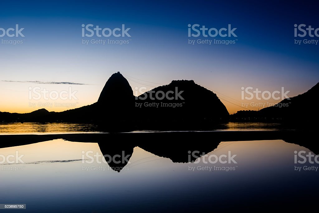 Sugarloaf Mountain in Rio de Janeiro by Sunrise stock photo