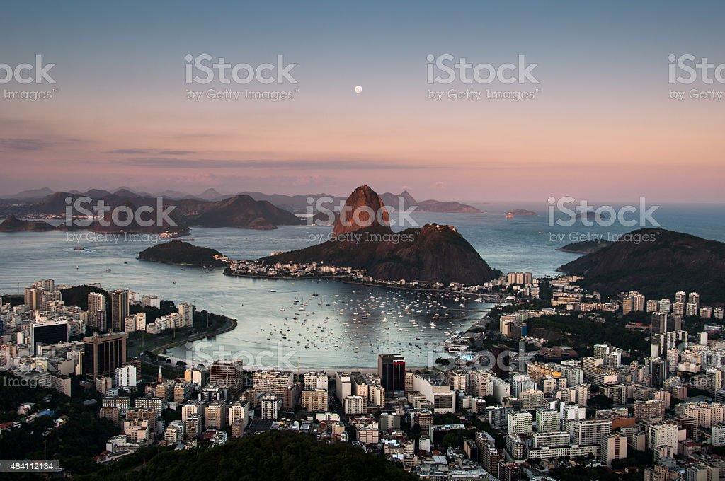 Sugarloaf Mountain with the Moon Above, Rio de Janeiro stock photo