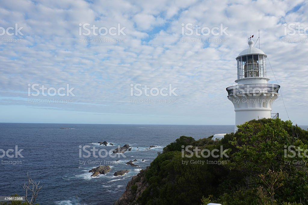 Sugarloaf Point lighthouse and Sea View stock photo