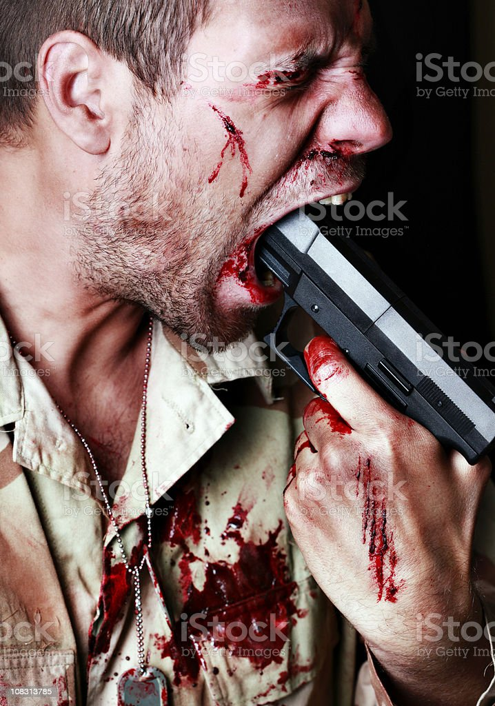 Suicidal Soldier stock photo