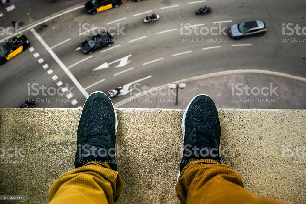 Suicide about to jump stock photo