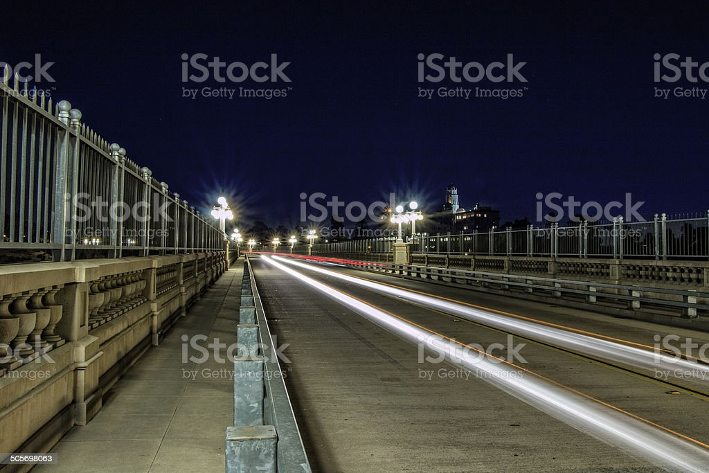 Suicide bridge in Pasadena,CA. stock photo