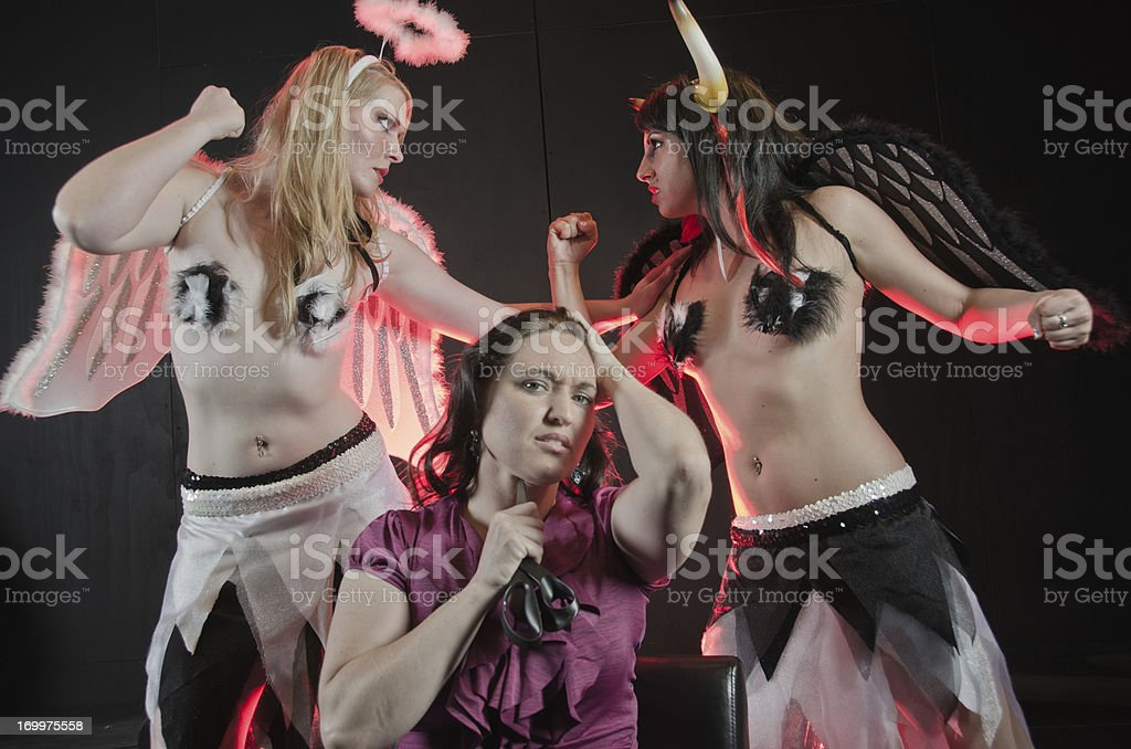 Suicide Good vs Evil stock photo