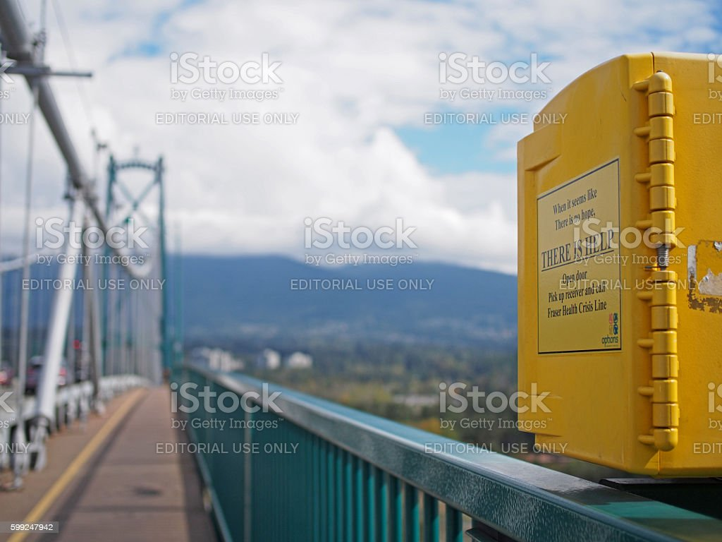 Suicide Help Phone on Lions Gate Bridge, Vancouver, Canada stock photo