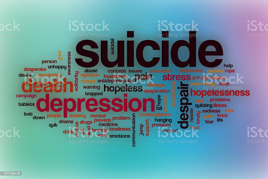 Suicide word cloud with abstract background stock photo