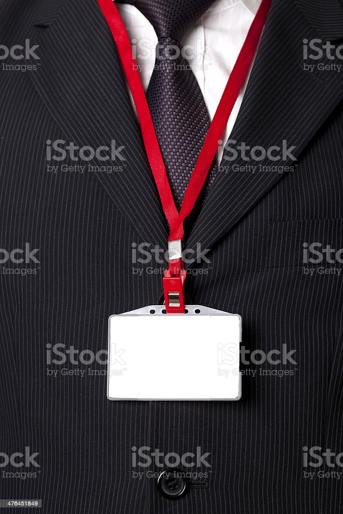 suit and name tag stock photo