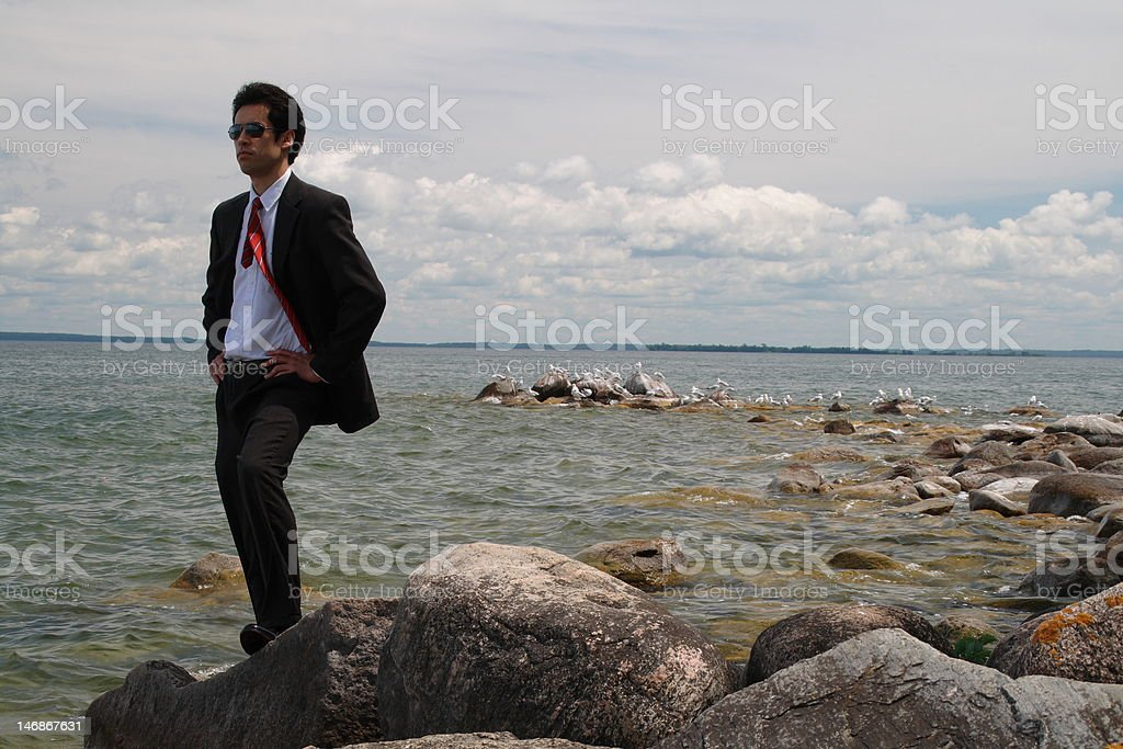 suit and tie at lake stock photo