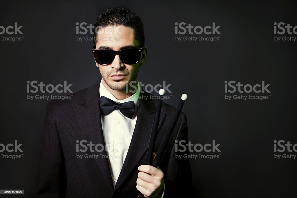 Suit and Tie Drummer royalty-free stock photo
