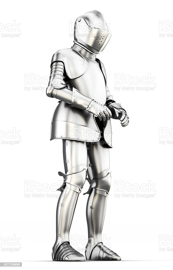 Suit of armor for all body isolated on white background. stock photo
