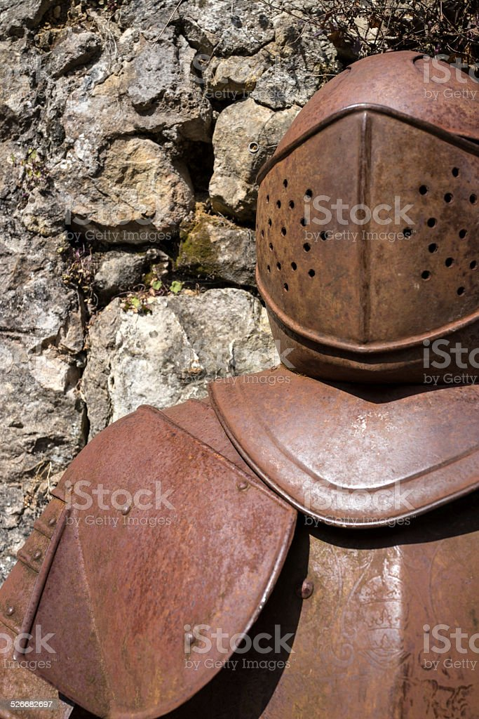 Suit of Rusty Armor stock photo