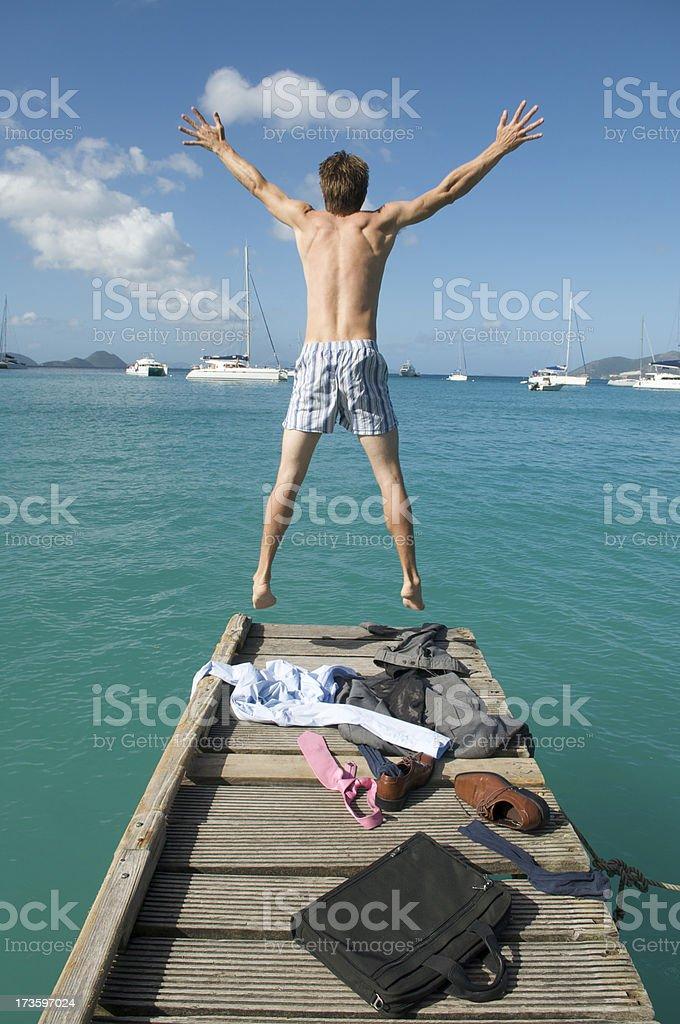 Suit Strip Dock Jump stock photo