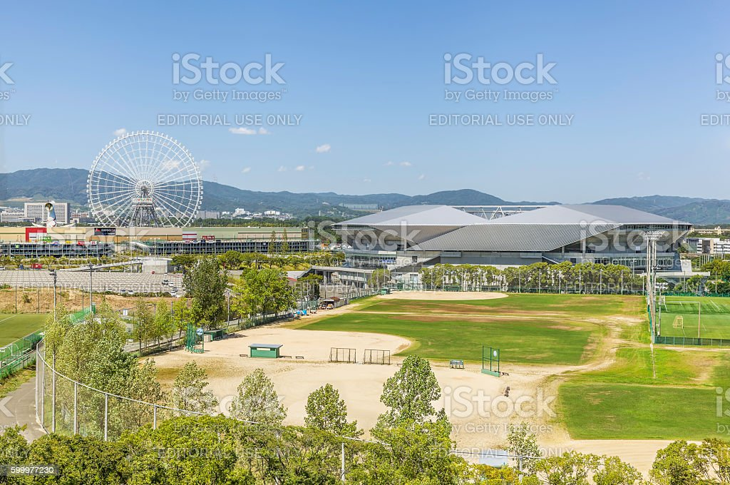 Suita City Football Stadium and Redhorse Osaka Wheel stock photo