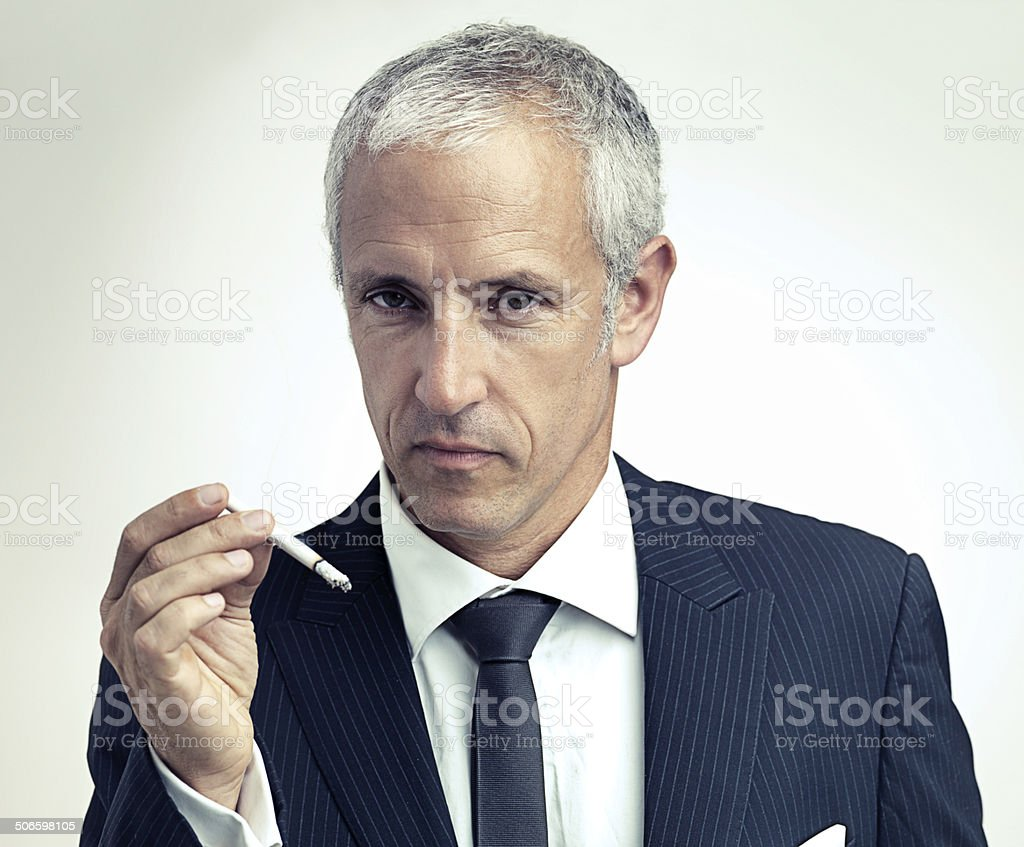 SUITable moment for a smoke stock photo