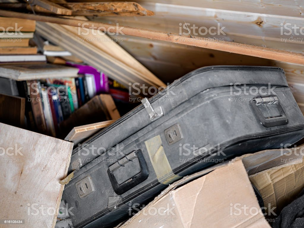 Suitcase And Unnecessary Things stock photo