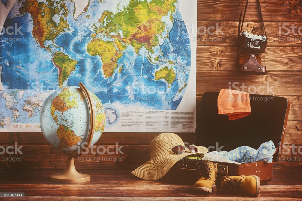 suitcase, clothing and accessories stock photo