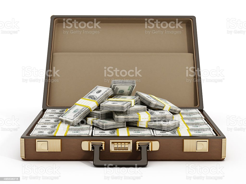Suitcase full of money stock photo