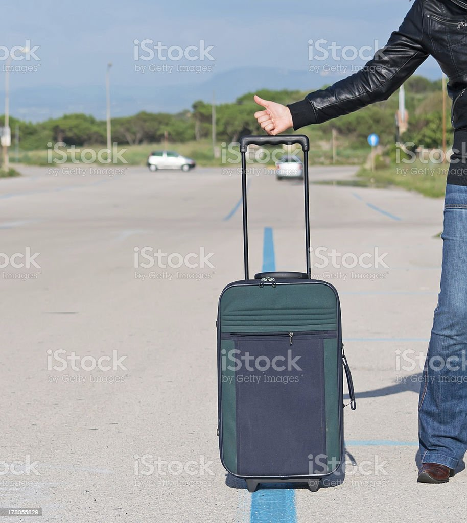 suitcase in the street royalty-free stock photo