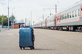 Suitcase on the rail station