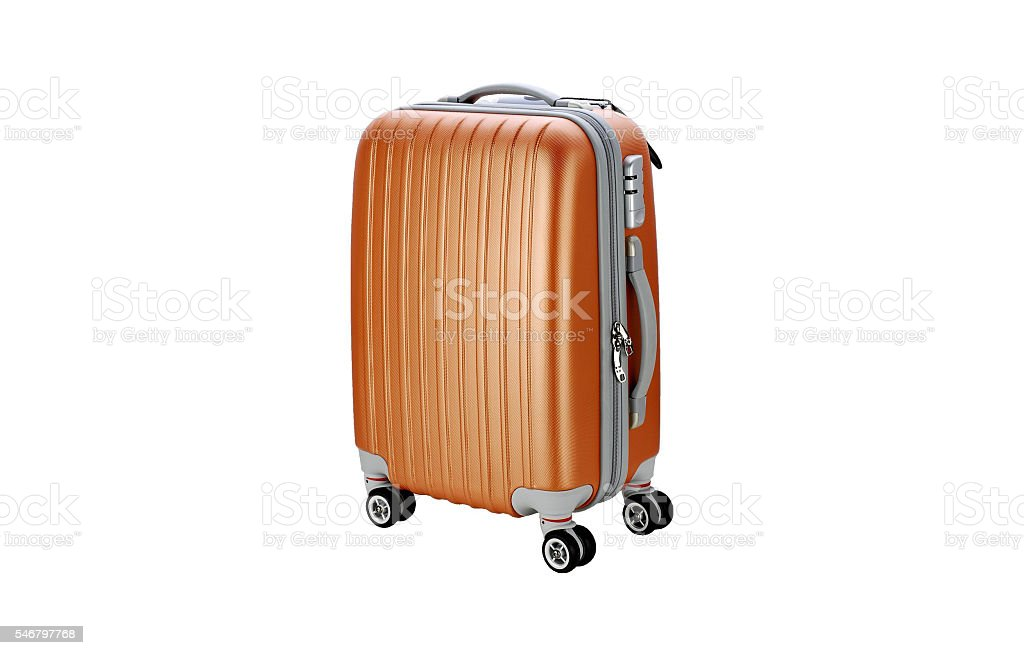 Suitcase on wheels for travel isolated stock photo