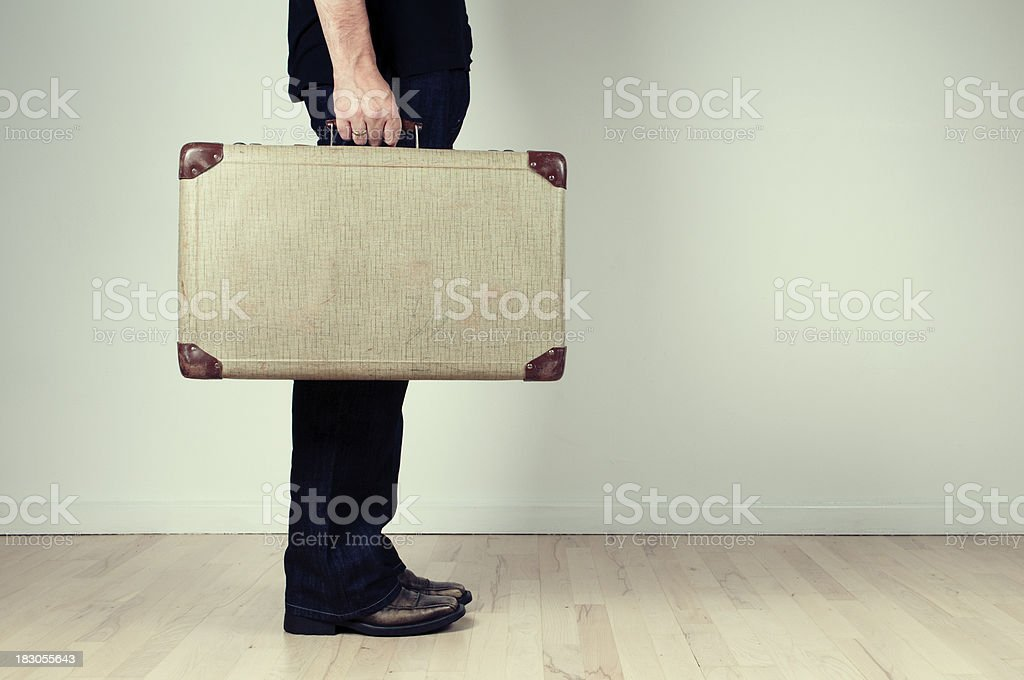 Suitcase packed - ready to go stock photo