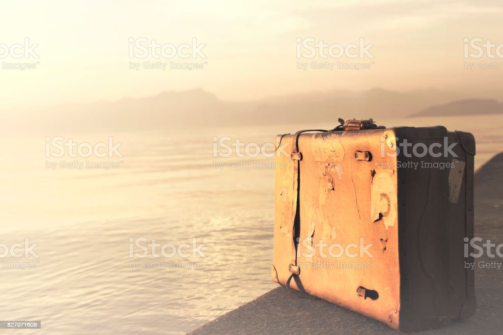 Suitcase ready for the next adventure stock photo