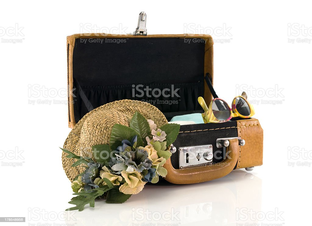 suitcase ready for travel stock photo