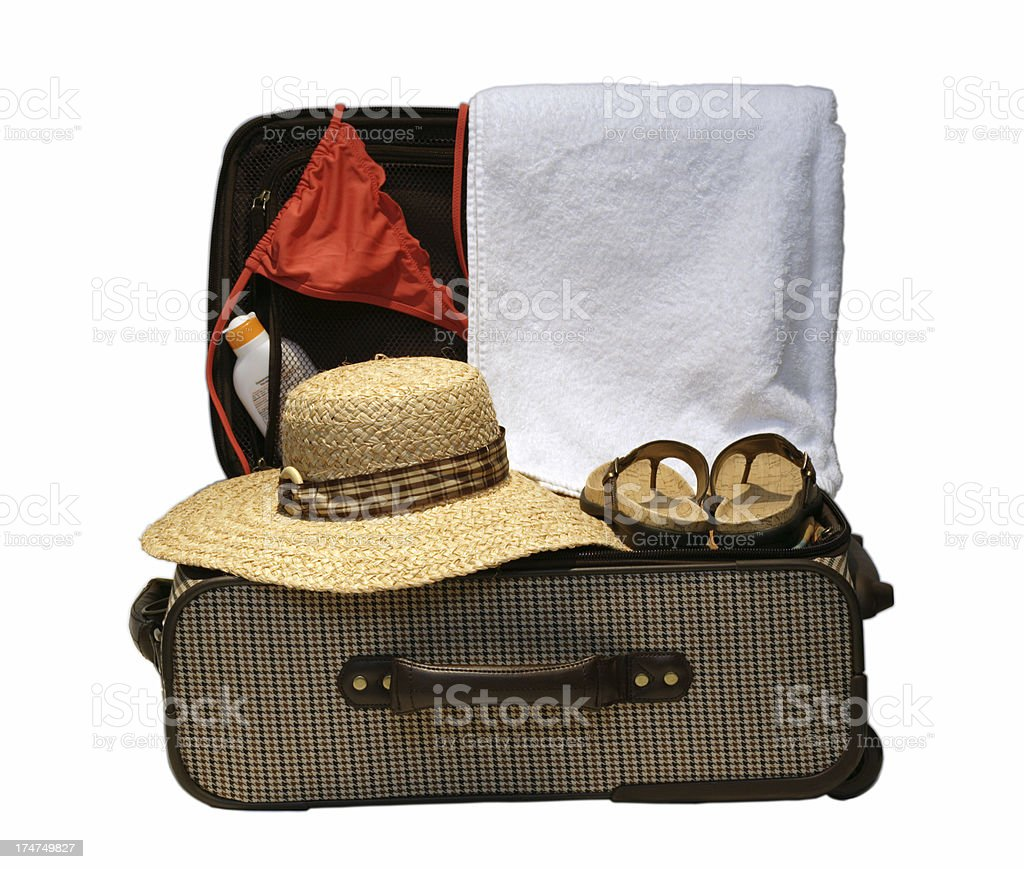 Suitcase ready for vacation or travel royalty-free stock photo