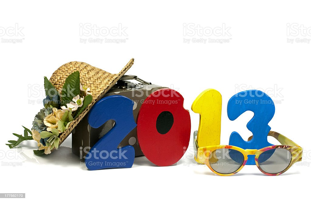 suitcase summerhat and glasses royalty-free stock photo