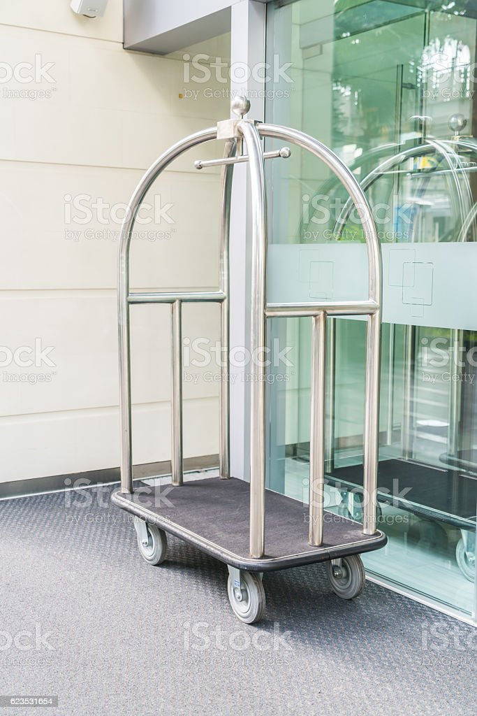 Suitcase transfer troller stock photo