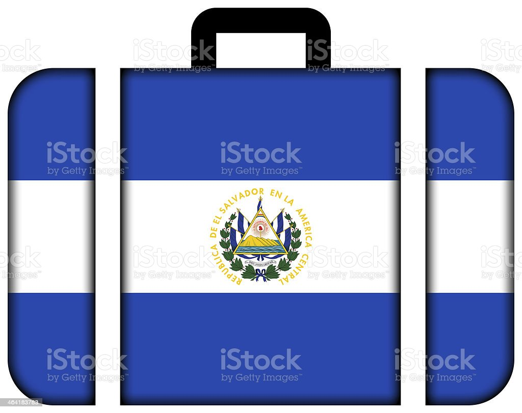 Suitcase with El Salvador Flag stock photo