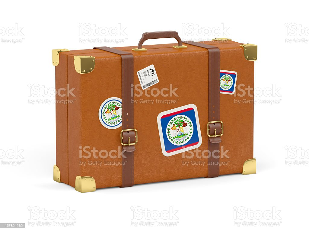 Suitcase with flag of belize stock photo