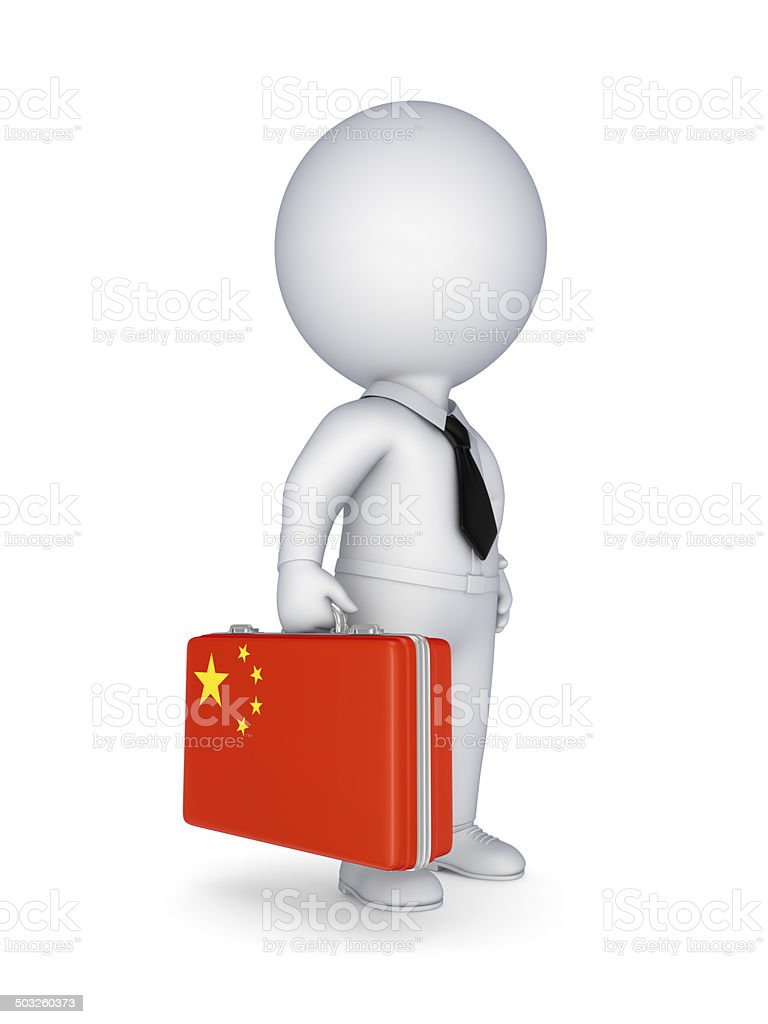 Suitcase with flag of China. royalty-free stock photo