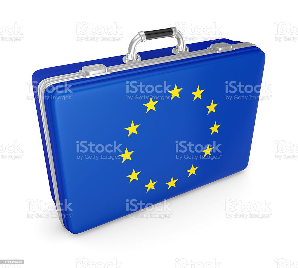 Suitcase with flag of EU. royalty-free stock photo