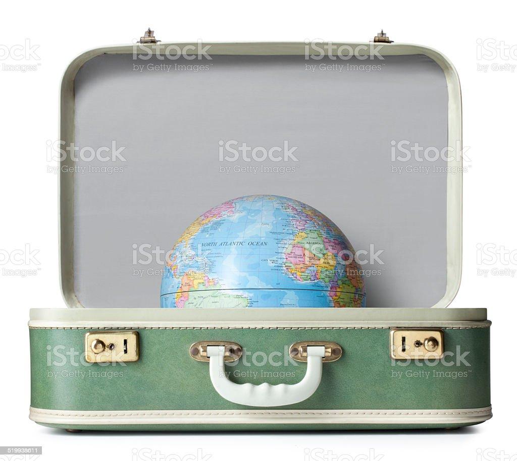 Suitcase with globe stock photo