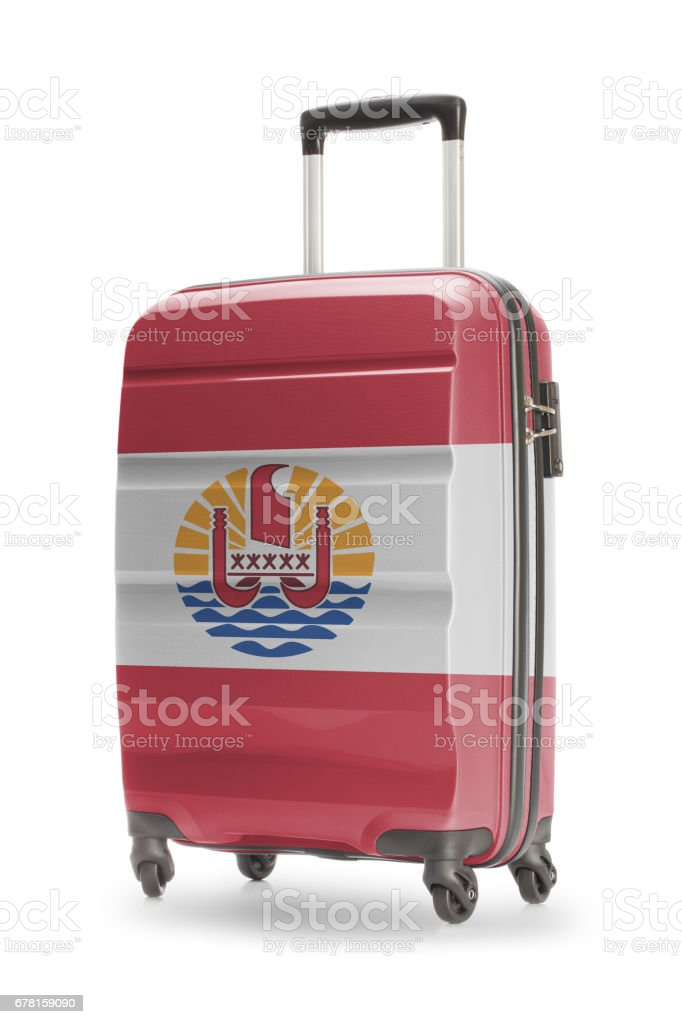 Suitcase with national flag on it - French Polynesia stock photo