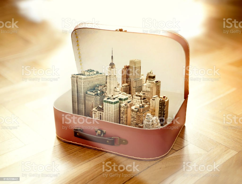 Suitcase with New York city stock photo