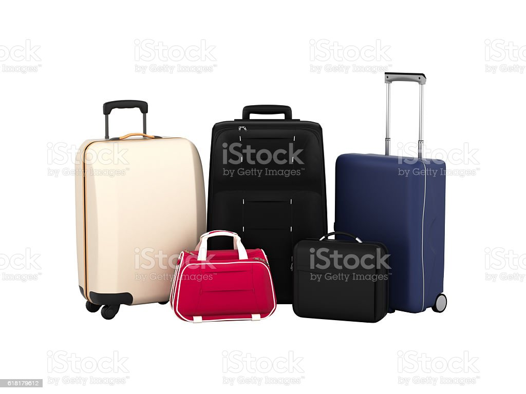 Suitcases and bags, travel concept isolated on white without sha stock photo