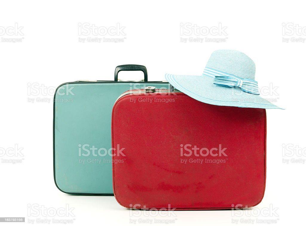 Suitcases and straw hat royalty-free stock photo