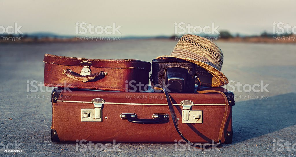 Suitcases on road stock photo