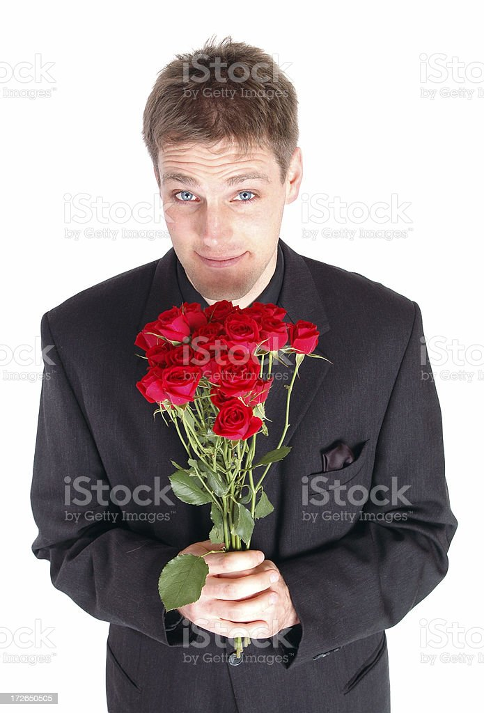 Suitor and Roses stock photo