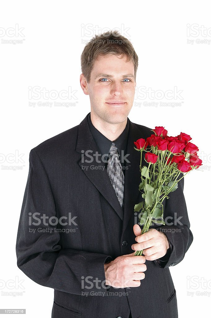 Suitor with Roses stock photo