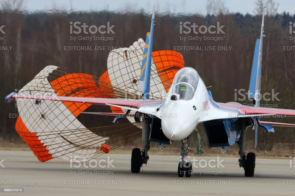 Sukhoi Su-30SM 34 BLUE Russian Knights aerobatics team of Russian air force during Victory Day parade rehearsal at Kubinka air force base. stock photo