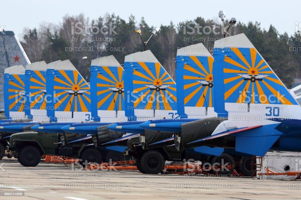 Sukhoi Su-30SM 36 BLUE Russian Knights aerobatics team of Russian air force during Victory Day parade rehearsal at Kubinka air force base. stock photo
