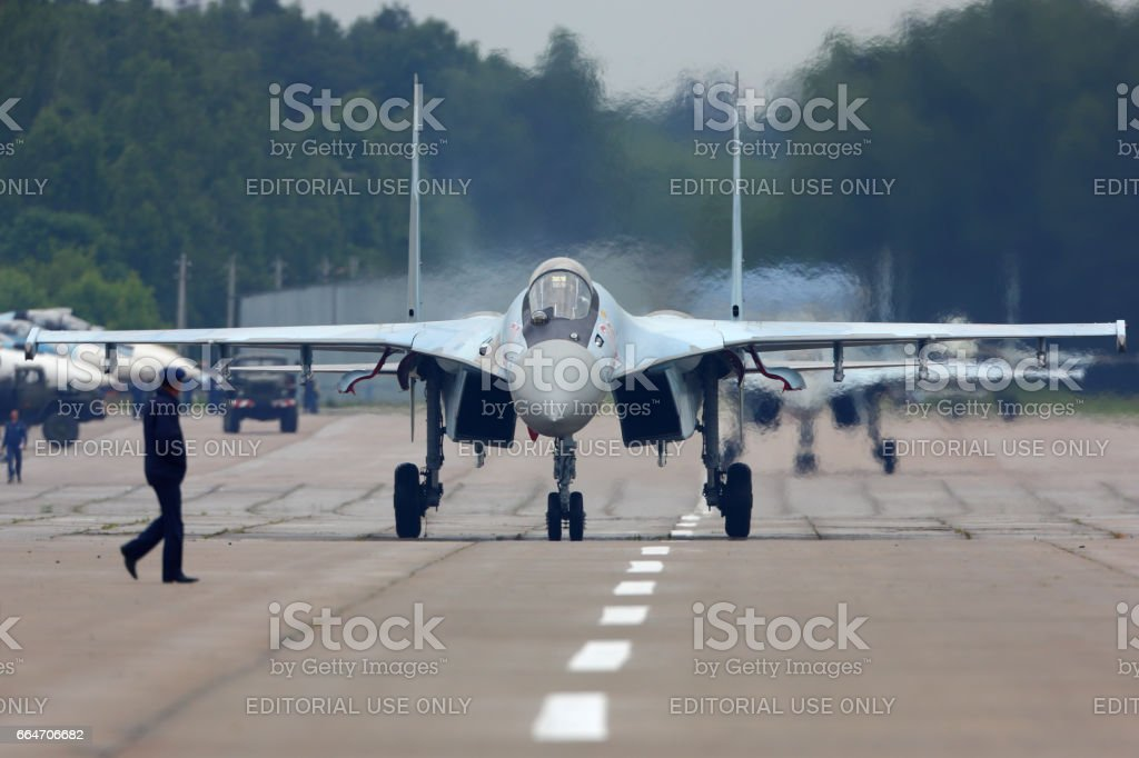 Sukhoi Su-35S jet fighter at Kubinka air force base during Army-2015 forum. stock photo