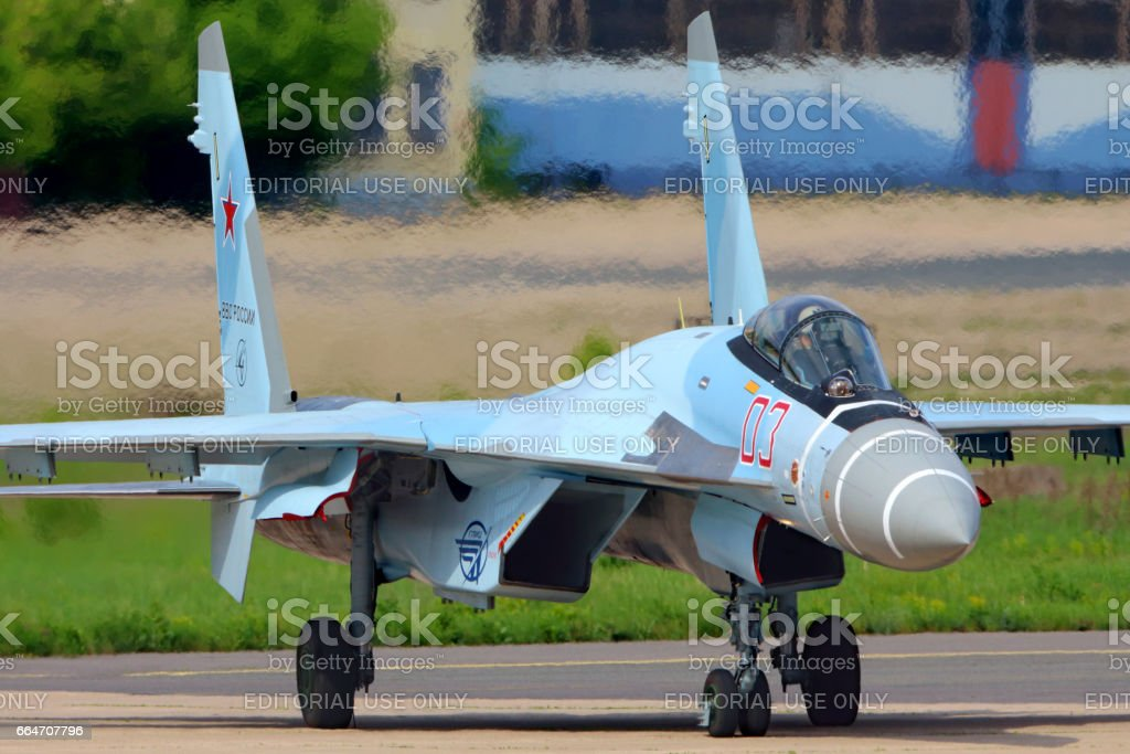 Sukhoi Su-35S perfoming test flight in Zhukovsky, Moscow region, Russia. stock photo