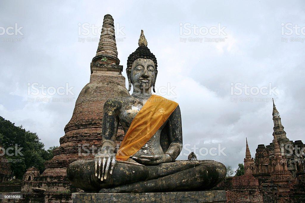 sukhothai ancient buddha temple ruins royalty-free stock photo
